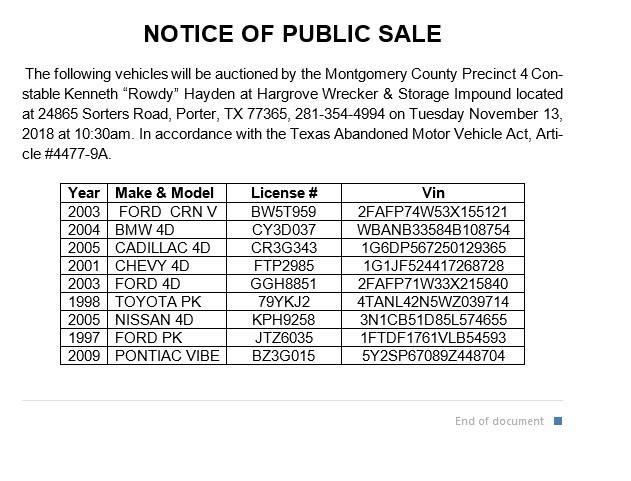 Precinct 4 Vehicle Auction