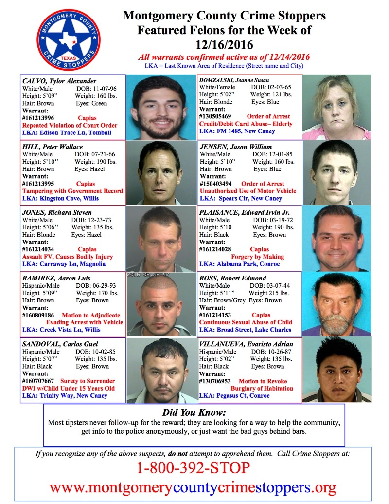 MCSO East County Blotter & Featured Felons