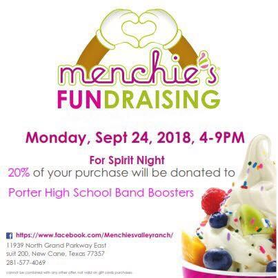 Porter high school band booster at menchies valley ranch mon Sep